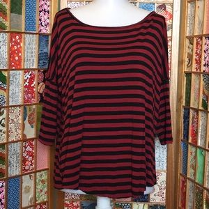 American Eagle Red & Black Striped Top